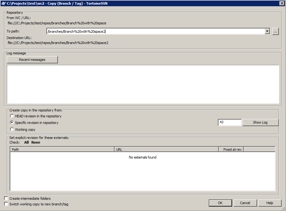 TortoiseSVN Dev: Branching and URL-encoding